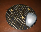"""Black and Gold Mouse Pad, Black Diamond Mousepad, Computer Mouse Pad, Mouse Mat, Black & Gold Diamonds, 1/4"""" Thick"""
