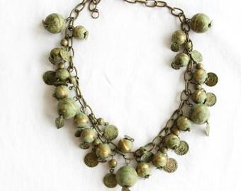 Indiana, Vintage Statement 1970s Green Charm Boho Necklace