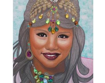 Bejeweled Beauties - Bindiya - Mixed Media Artwork - By Toronto Portrait Artist Malinda Prud'homme