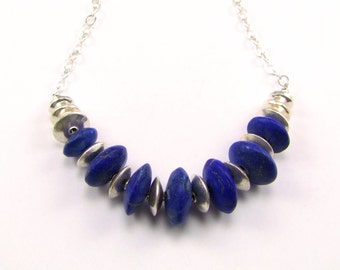 Natural AAA Lapis Lazuli Sterling Silver Necklace - N867