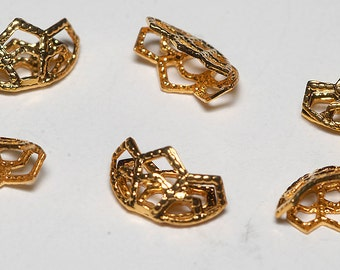 Vintage Gold Plated Set of 6 Bead Caps Findings Clam SHell DIY Beading