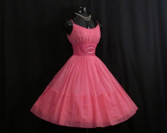 Vintage 50s 1950's HOT PINK Fuschia Beaded Rhinestones Ruched CHIFFON Organza Party Prom Wedding Dress