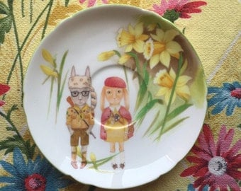 Moonrise Bunnies with Daffodils Vintage Illustrated Plate