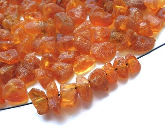 200pcs - Natural Baltic amber beads, raw, cognac amber,  6-8mm at widest part (#206)
