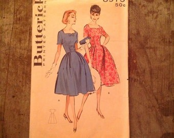 1950's Vintage Butterick Sewing Pattern 8975 Misses' & Womens' Soft-Skirted Dress Sz 14