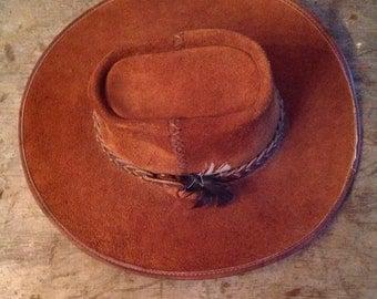 Vintage Men's Suede San Zeno Leather California Made Cowboy Hat XL
