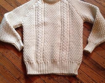 Vintage Men's Lisheen Irish Wool Sweater Aran Knitwear Sz M