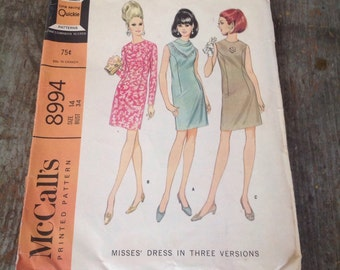 Vintage McCall's Sewing Pattern 8994 Misses' Size 14 Bust 34 Dress