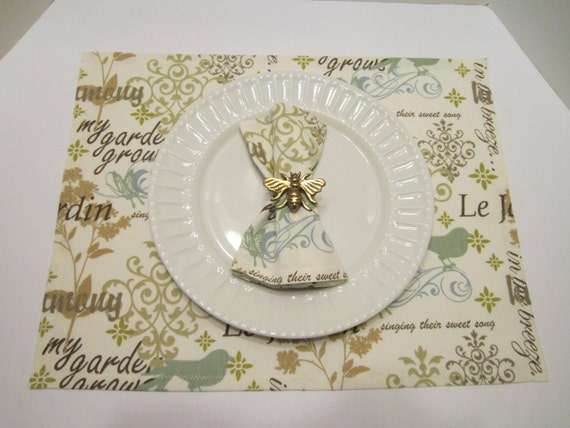 Placemats/Napkins - French Scripted Linen Le Jardin Fabric in Teal Sage Blue Taupe Cream - Cottage Chic - Set of 4 - Ready to Ship