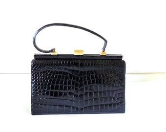 vintage patent leather croc purse - 1950s-60s GORGEOUS Coblentz oversized handbag purse