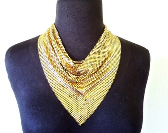 vintage Whiting & Davis necklace - 1960s-70s gold metal mesh collar necklace