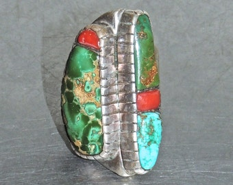 vintage turquoise cocktail ring - 1960s HUGE sterling/turquoise ring