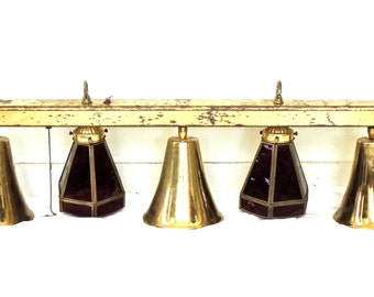 vintage hanging light fixture - 1960s-70s mid century brass/purple glass chandelier fixture