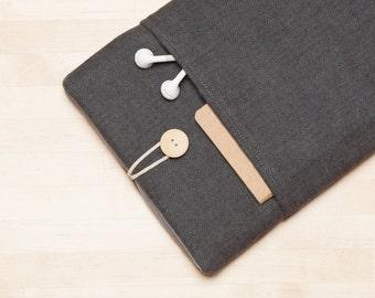 Macbook case / Laptop sleeve  / Macbook pro 13 cover, Macbook Air 13 sleeve,  custom laptop case   - Herringbone grey