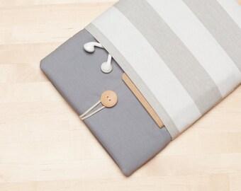 iPad air 2 case, iPad Pro sleeve,  iPad Pro case, iPad 2 case,  ipad 3 case  - Grey stripes -