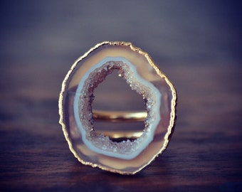 GEODE SLICE RING /// Electroformed in 24kt Gold /// The Willa Ring