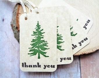 Thank You Tags Wedding Rustic Pine Tree Woodland Mountain