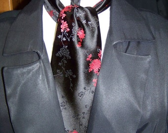 Cravat and Ascot Black with Red Flowers Pattern or Ascot Mens Victorian Tie Mens wedding necktie