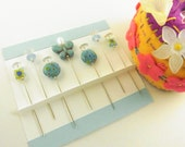 Decorative Sewing Pins Turquoise Butterfly and Millefiori