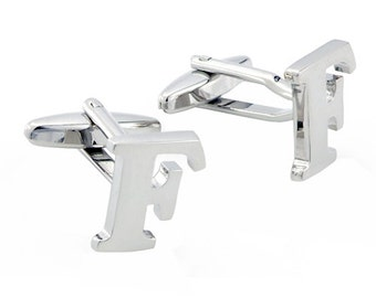 Initials Cufflinks Letter F Silver Cuff-links (Mix and Match any Initials & Number) 1200263