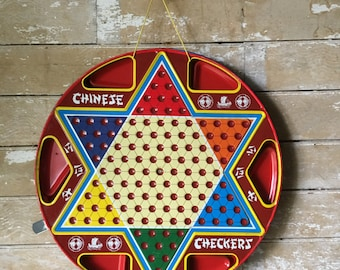 Vintage Retro Chinese Checker Board Metal Large
