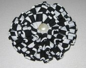 Fabric Flower, Black And White, Ruffled Layers, Applique, Embellishment