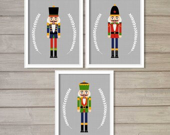 The Nutcracker Soldier Set of 3 Wall Art Printable- 8x10 - Instant Download Holidays Winter December Christmas Snow Kids Children Home Decor
