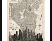 Seattle  Map - Seattle Skyline - Print Poster - Vintage - Grunge