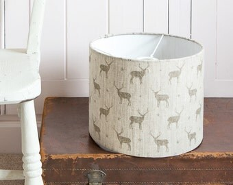 Mini Stags Linen Drum Lampshade