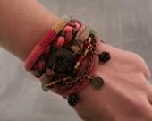 Gypsy Boho Bracelet Set, Bohemian Style Bracelet, Bronze Layering Bracelet Red and Green