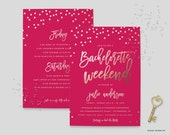 Bachelorette Weekend Invitation - Bachelorette Itinerary Invitation - Wedding Shower Invitation - Bridal Shower Invite - 5x7 - Weekend Party