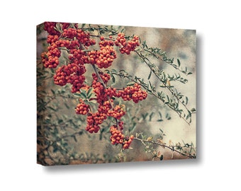 Small Canvas Wall Art Decor Red Berries