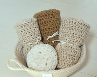 crochet dish cloth pack/cotton rope bowl/dish scrubbie/nonabrasive all purpose nylon crocheted sponge/crochet dish cloth/wash cloth