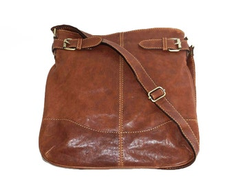 Distressed Brown Genuine Leather Messenger Bag Vidal // Leather Cross-body Bag