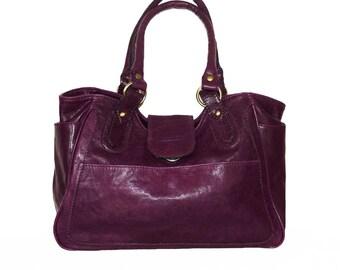 Deep Purple Leather Bag Leather Tote  Leather Handbag, Julia size L