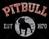 WOMANS T Shirt Pitbull Dog Puff Art Applique 17425
