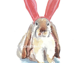 Large Rabbit Watercolor Print - 11x14 PRINT, Bunny Ears, Bunny Rabbit, Nursery Art