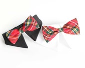 Holiday Limited! Dog Cat Pet White Shirt Collar with Bowtie, Dog Bow Tie, Pet  bowtie, Royal Stewart and Holiday Blue, no leash hook