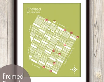 Chelsea NYC Geometric Street Map (Neighbor-Hood Series A) Set of 4 - Art Prints (Featured in Bamboo ) Mod Maps
