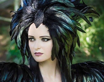 Black feather headdress / Feather crown / Headpiece with iridescent green rooster feathers / Medusa headdress / Feather turban / Burlesque