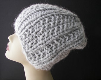 Luxe Hand Knit Slouch Beanie Chunky Hat in Gray ALPACA / Warm Knit Hat/ Ski Knit Hat / Luxe Knits/ Ready to ship / fold up knit hat