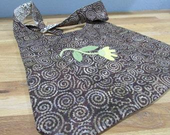 Hobo Bag,Brown Batik Cross Chest with Wool Flower