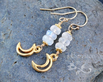 Gold crescent moon & faceted moonstone rondelle gem earrings- 14k gold filled earwires - 22k gold plated pewter moons - free shipping in USA