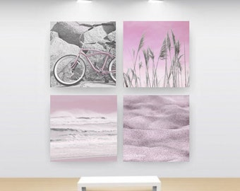 ART Set of 4 Prints-Square Print Set-20x20-Beach Images-Fine Art Photos-Pink-White-Gray-Coastal Art-Photo Collage-Instant Collection