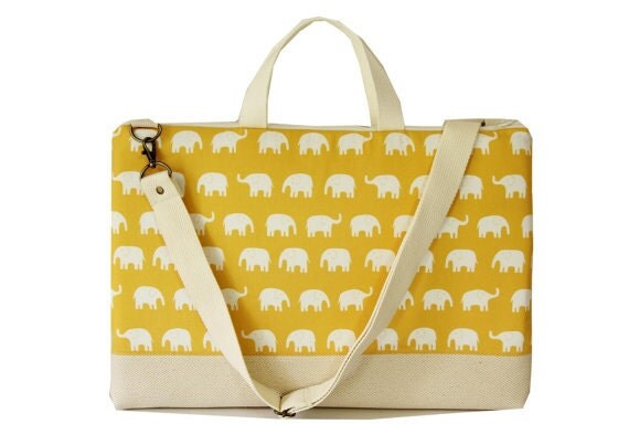 """SALE-15"""" Macbook or Laptop bag with handles and detachable shoulder strap- Gray elephant -Ready to ship"""