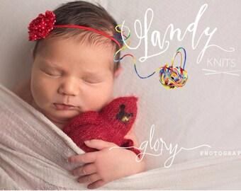 Tiny stuffed Cardinal. Newborn photo prop