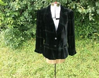 Black Armani Collezioni Blazer // Vintage Silk Velvet Blazer // Designer Vintage Couture Jacket // 90s Italian Couture Size 12