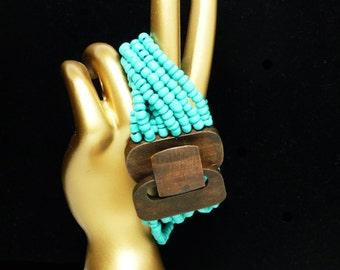 Wood & Turquoise Bead Bracelet - Multistrand - BOHO Style 1980's Era - Vintage Fashion Jewelry
