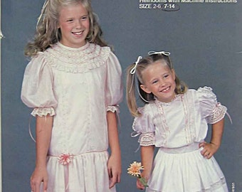 RARE Vintage 80's Dancing Needles Sewing Pattern #5 Waisted or Hip Length Heirloom Lace Dress UNCUT Children's Girl's Sizes 7-14