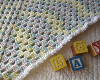 Crocheted Classic Style Granny Square Baby Blanket in Pastel Variegated Baby Colors